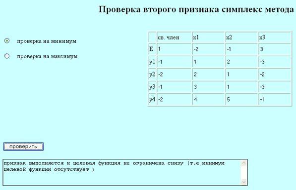 Используется алгоритм проверки второго признака симплекс метода.